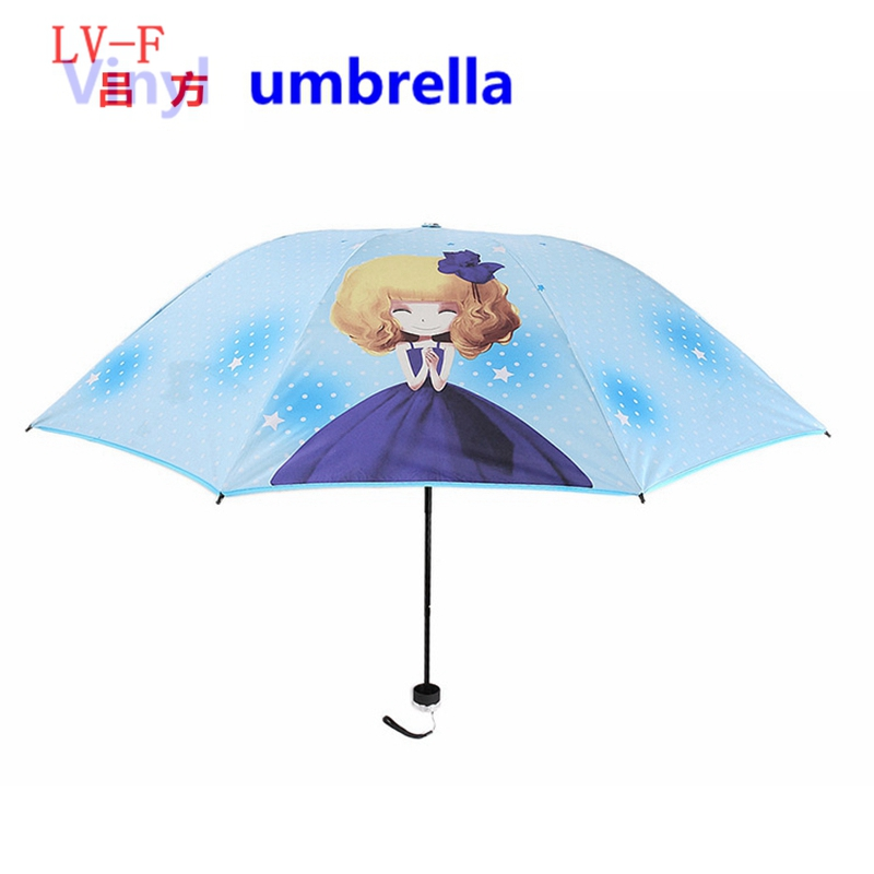 3 folding umbrella 8k Cute lady rain Golf umbrella popular vinyl sun umbrella