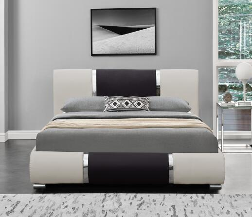 Modern Design Leather Sleigh <strong>Bed</strong> Decorated with High Gloss Chrome strips
