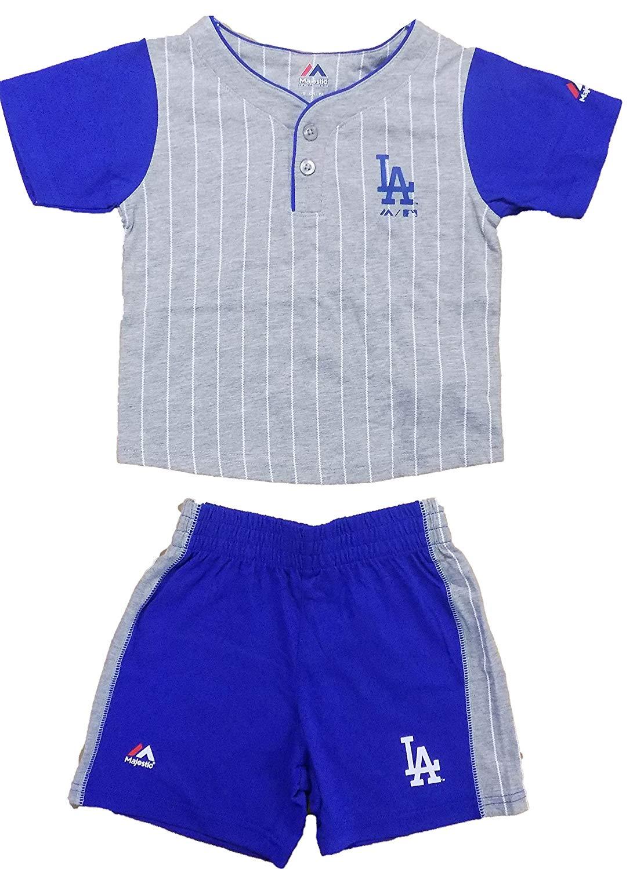 5f3b28f3 Get Quotations · Los Angeles Dodgers Blue Grey Stripe Batter Up Kids T-Shirt  & Shorts Set