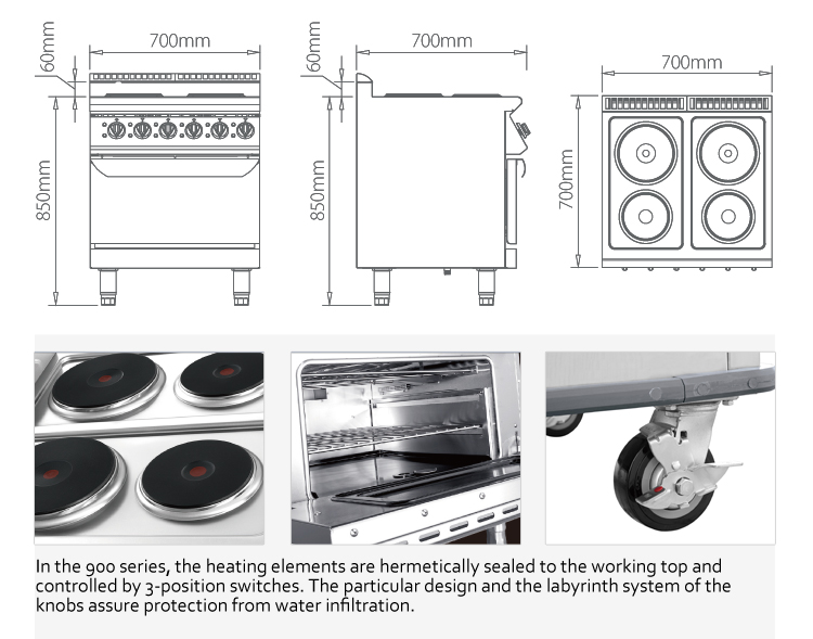Furnotel 700 Series 4 Sealed Burner Electric Restaurant Range with Standard Oven 3 Phase Electric Hot Plate, 14 kW
