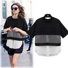 New black and white stitching chiffon fake two T-shirt loose large half long sleeves