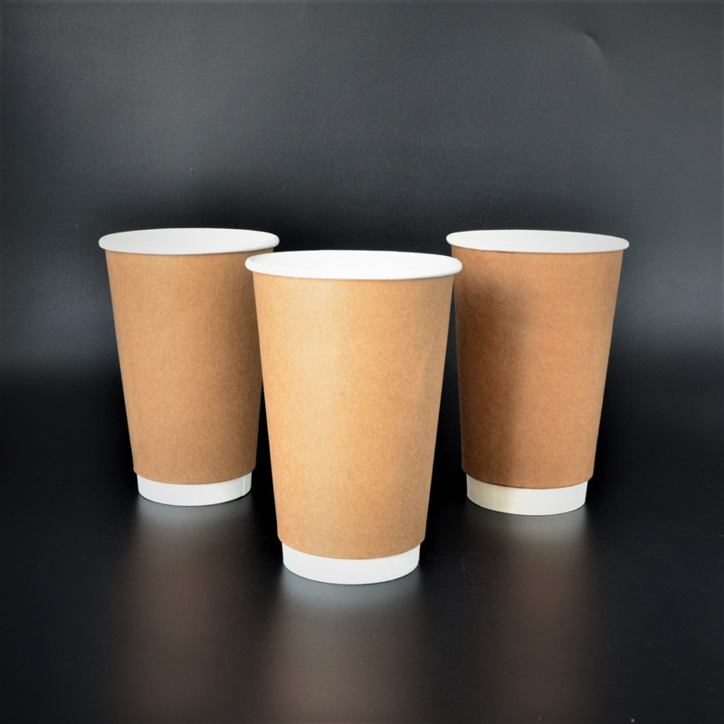 Disposable Double Wall Brown Kraft Biodegradable drinking Coffee Cups