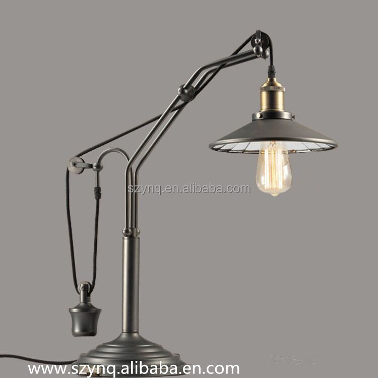 Decorative office pulley lamp /desk light industrial pulley/pulley lamp table