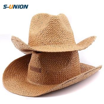 S-UNION Promotion good quality summer sun custom decoration cowgirl hats  and mens straw cowboy c3ece0a64db