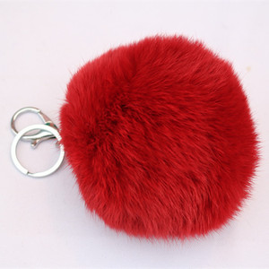 factory price rabbit fur ball key chains key holder pendant accessories