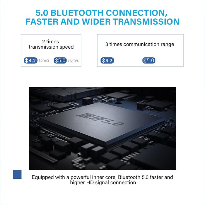 UiiSii BT118 Hifi Wireless Blue tooth 5.0 Earphone Headphone with Remote