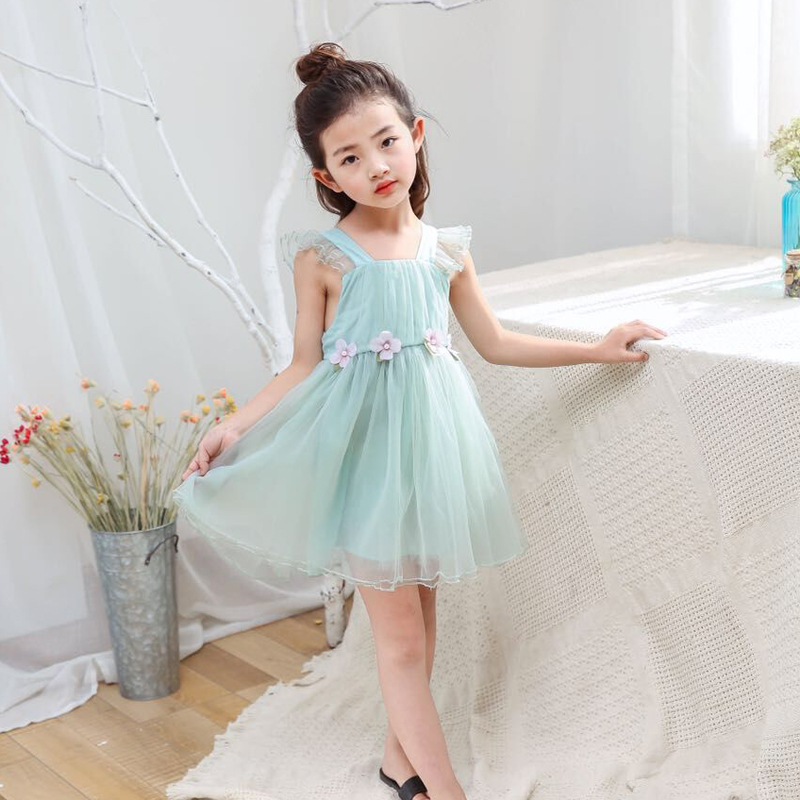 W6018 Girl Dress Kids Wedding Bridesmaid Children Girs Dresses Summer 2017 Princess Costume Lace Girls Clothes