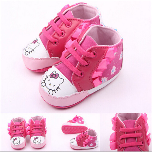 2015 Lovely Cartoon Hello Kitty Baby Shoes Soft Sole Lace Up Newborn Shoes First walkers Freeshipping