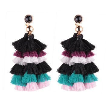 2019 Aretes China Wholesale Bijoux Ladies Fashion Jewelry Cotton Tassel Earring Designs Earrings for Women