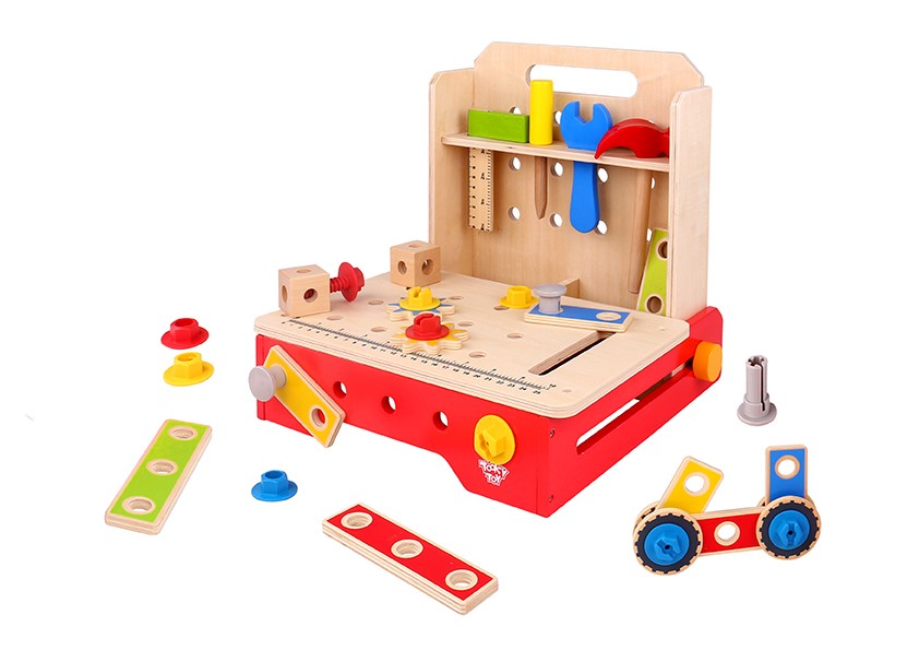 Intelligent diy Foldable Workbench wooden kids tool box kit set toy,wooden tool kit toy