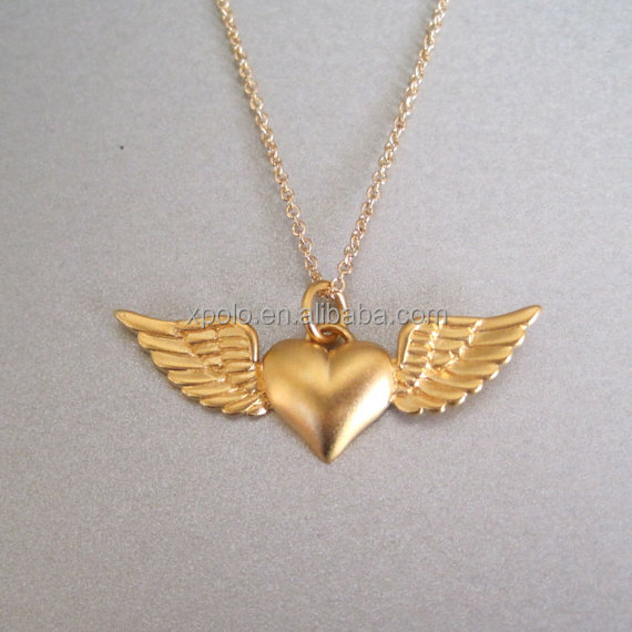Fashion Heart & Wings Charm Necklace