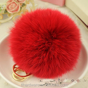 Gold Plated Keychain Cute Genuine Rabbit Fur Ball Pom Pom Keychain for Car Key Ring Handbag Tote Bag Pendant Charm (Pink)