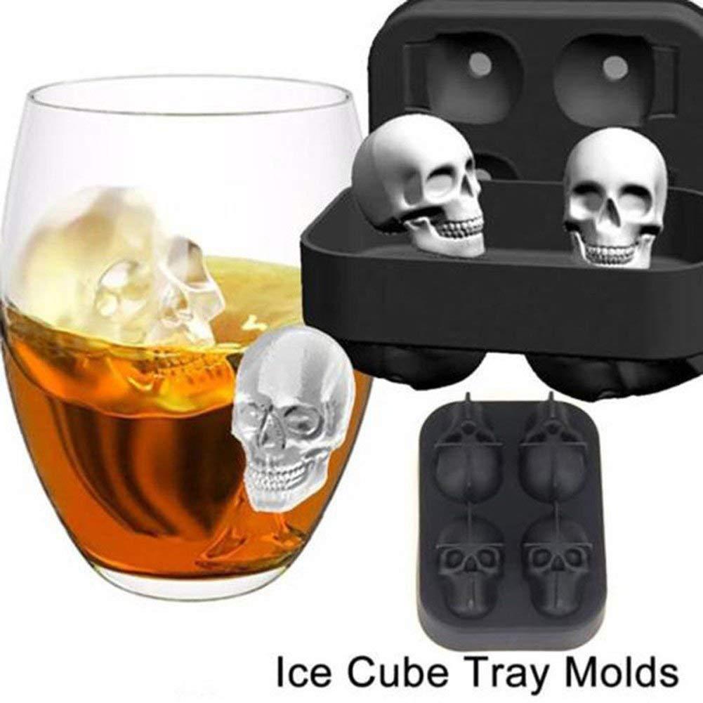YADEER 3D Skull Ice Mold Cube Tray Silica Gel Creative DIY Ice Cream Model Chocolate Cast Harmless Drinking Frozen Block for Party Bar 4 Grids
