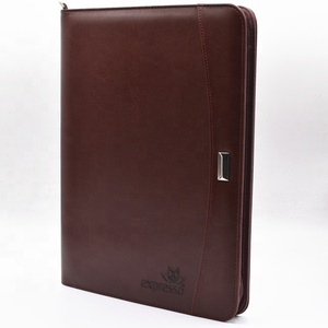 Zipper PU leather notebook/business notebook with calculator/ emboss moleskin cover notebook printing