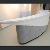 White countertop grey color beauty salon simi circle reception desk