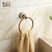 classic Bathroom Accessories Set 11832 Rose Gold Round Towel Ring