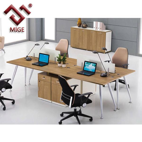 Simple Modern 4 Person Office Computer Workstation Desk