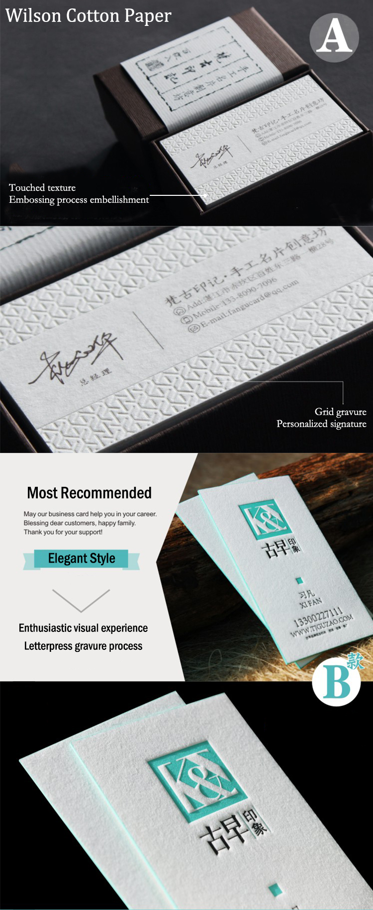 customized letterpress thick paper debossed printing custom business card