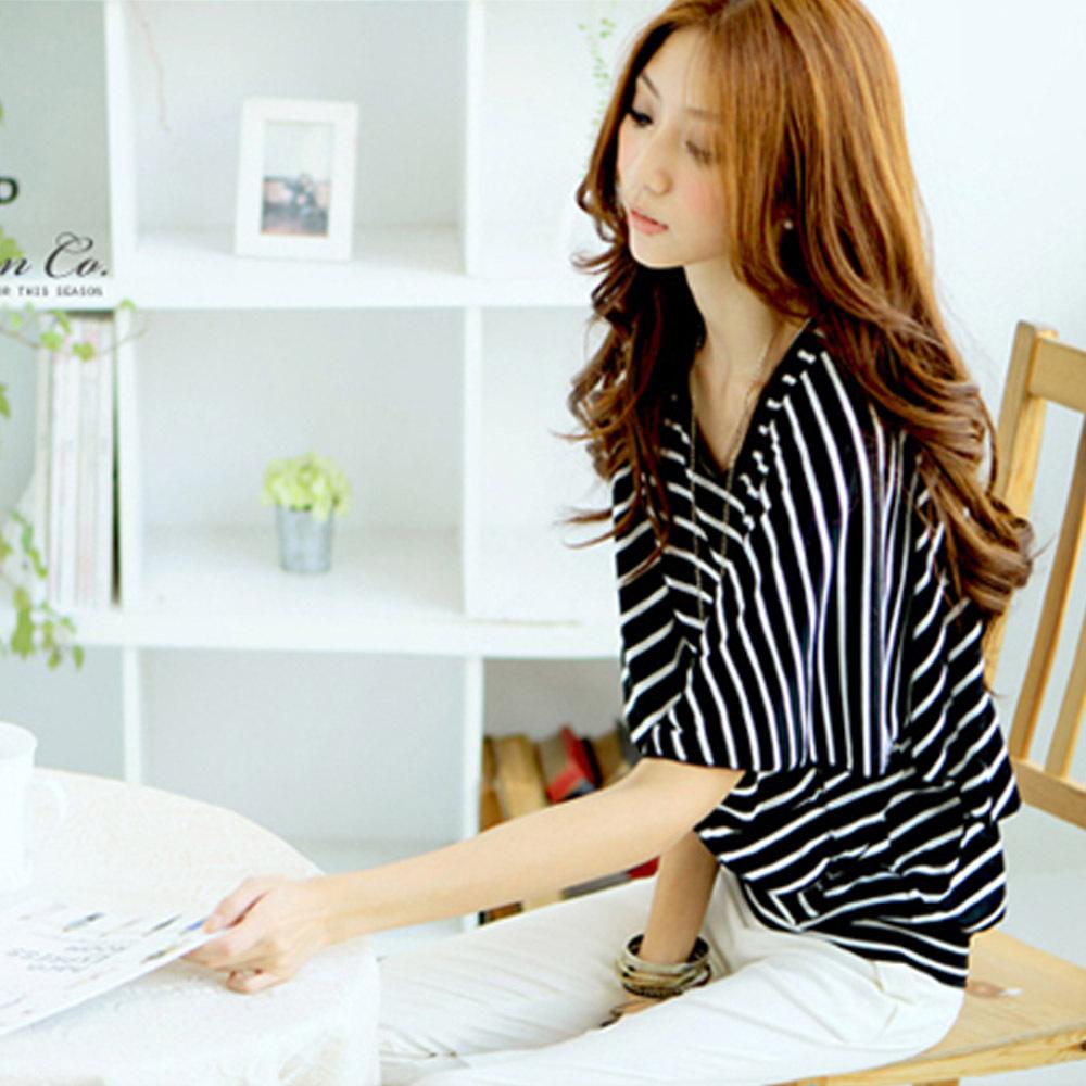 Большой размер женщины футболка новый 2015 осень лето мода свободного покроя полосатый половина рукава женская элегантный рубашку