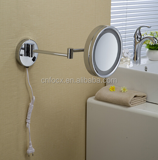 Double side adjustable wall mount magnifying makeup mirror with light shaving mirror