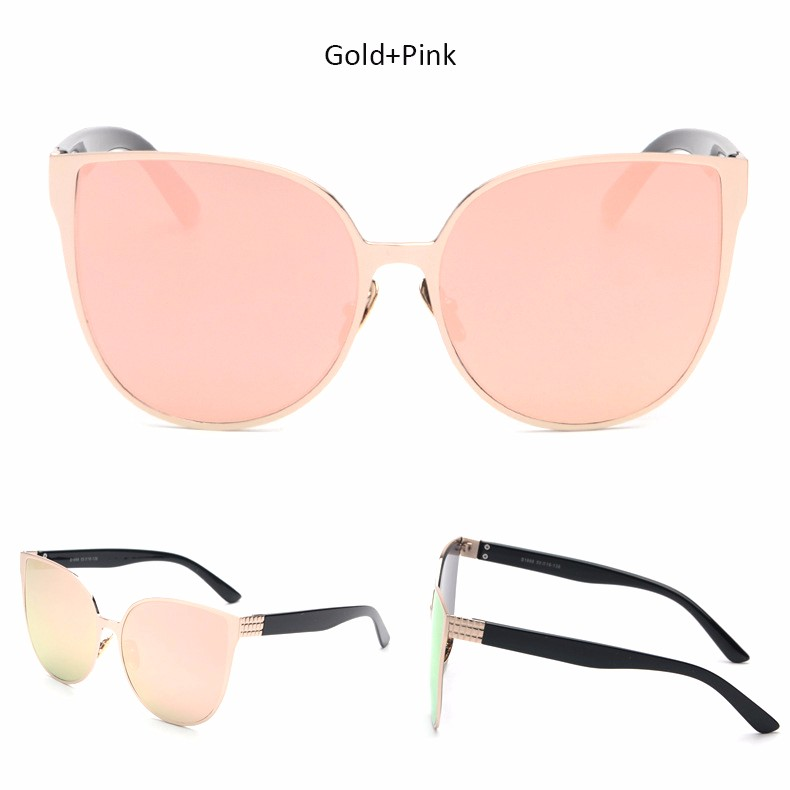 2017 New Oversized Cat Eye Mirrored Sunglasses Women Fashion Shades Cateye Sun glasses Vintage Famale Oculos UV400