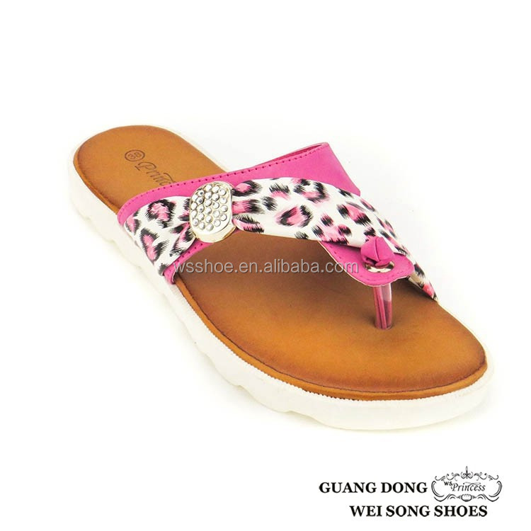 white sole thong leopard print fashionable upper outdoor new design women pvc slipper