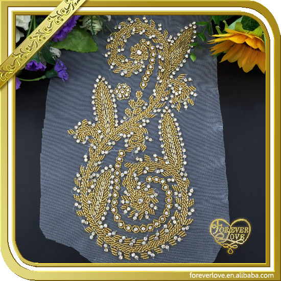 Wholesale embroidered gold dragon beaded rhinestone applique iron on patches for clothing FHA-023