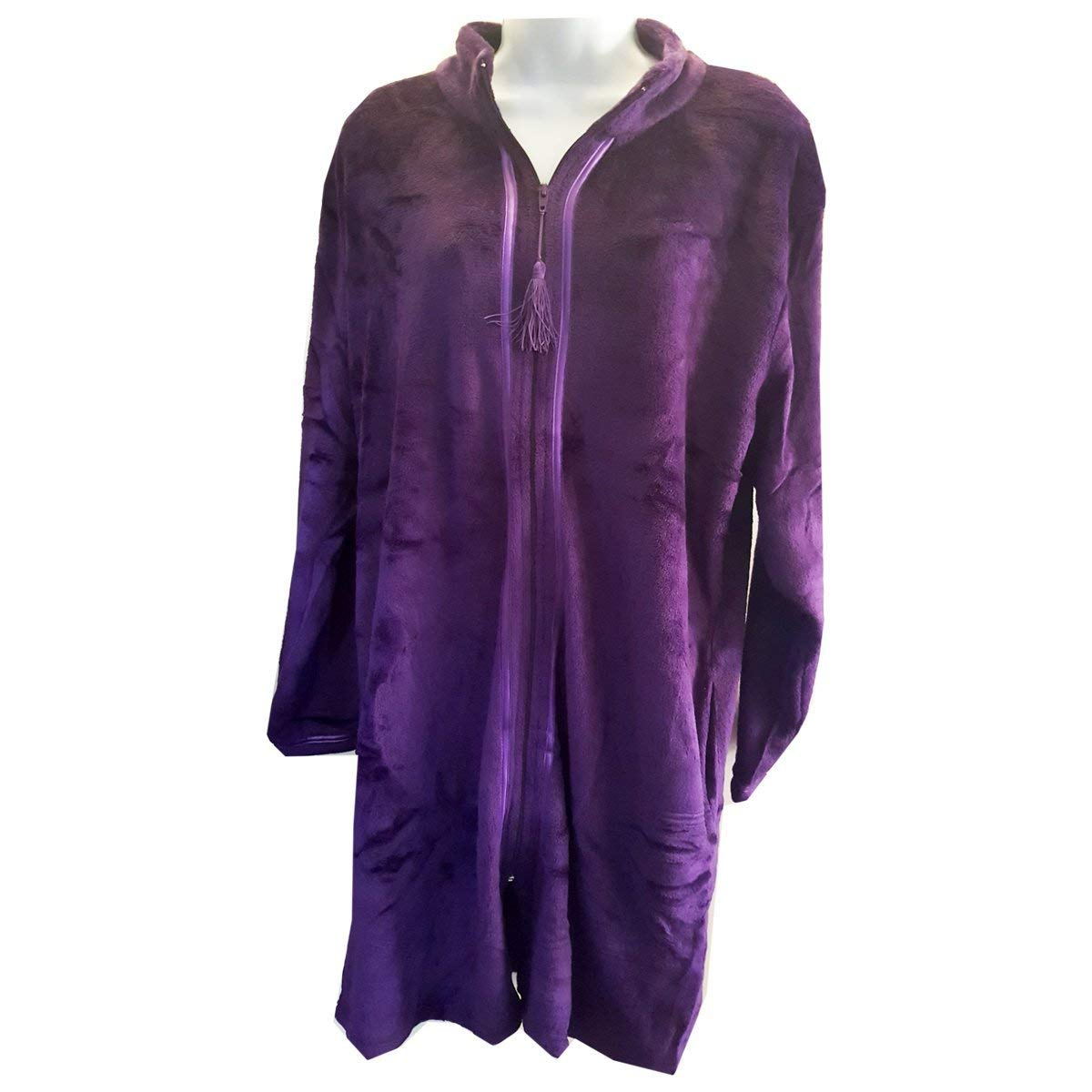 cc4ca2a5d9 Serre  Women s Velvet Plush Robe Zipper Front w Tassels - Purple