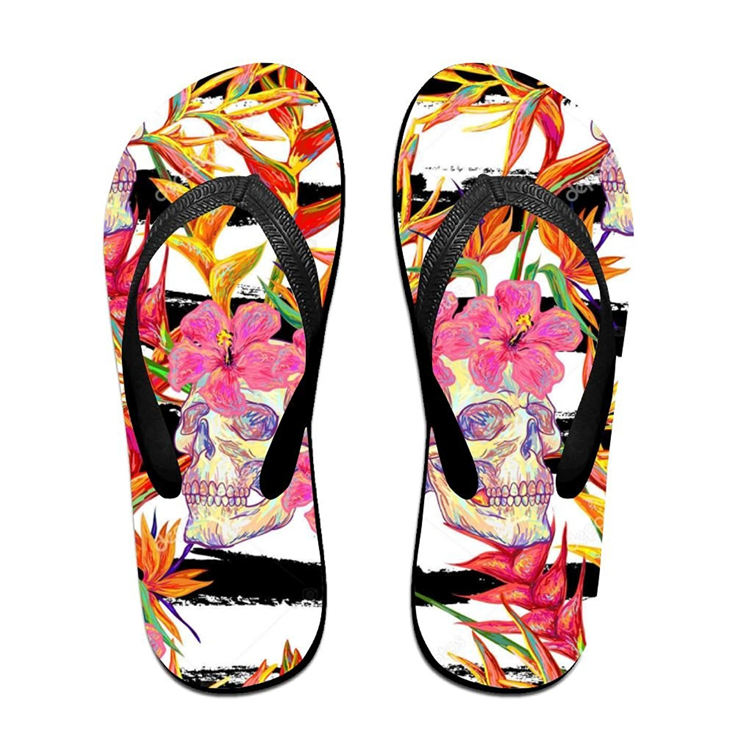 61e95b01bef0a5 Get Quotations · Shiny Cherry Blossom Skull Fun Flip Flops Thong Sandals