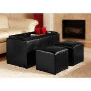 Faux Leather Storage Bench With 2 Side Ottomans, Black 3 pieces super value!!