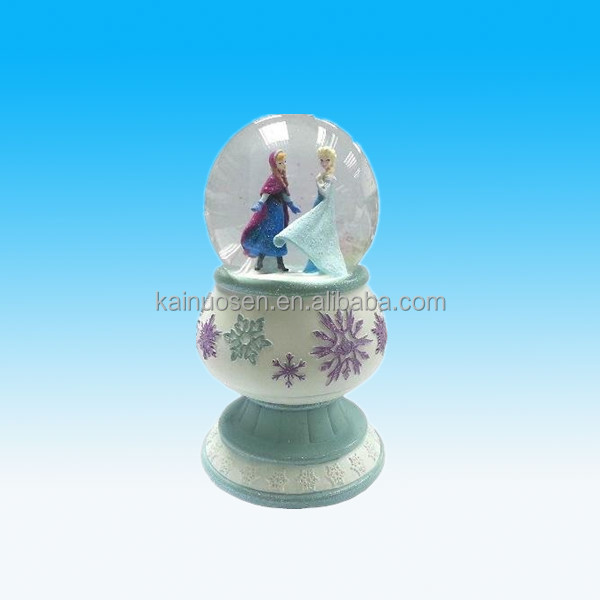 hot sale polyresin/resin Frozen musical water ball snow globe with pedestal for kids