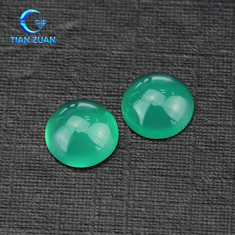round shape flat back cabochon natural green agate gemstone