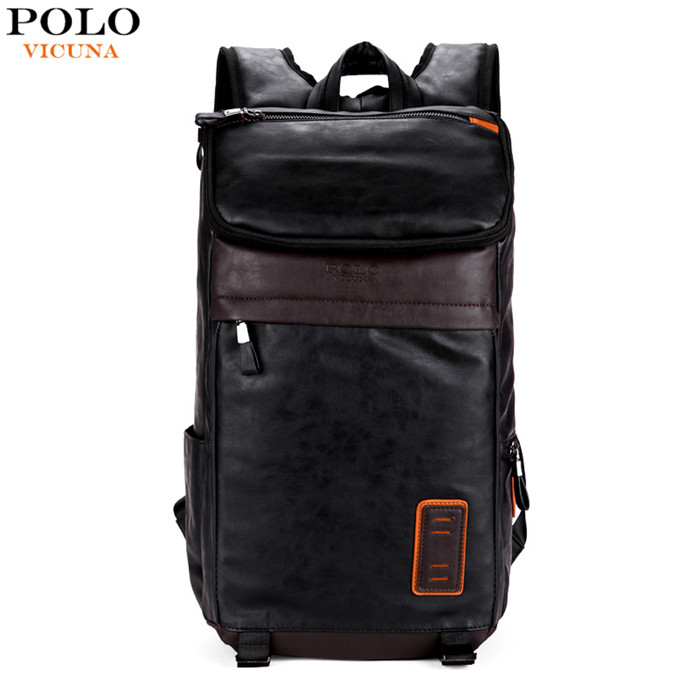 VICUNA POLO Large Volume Casual Men Travel Daypacks Vintage Simple Patchwork Leather Laptop School <strong>Backpack</strong>