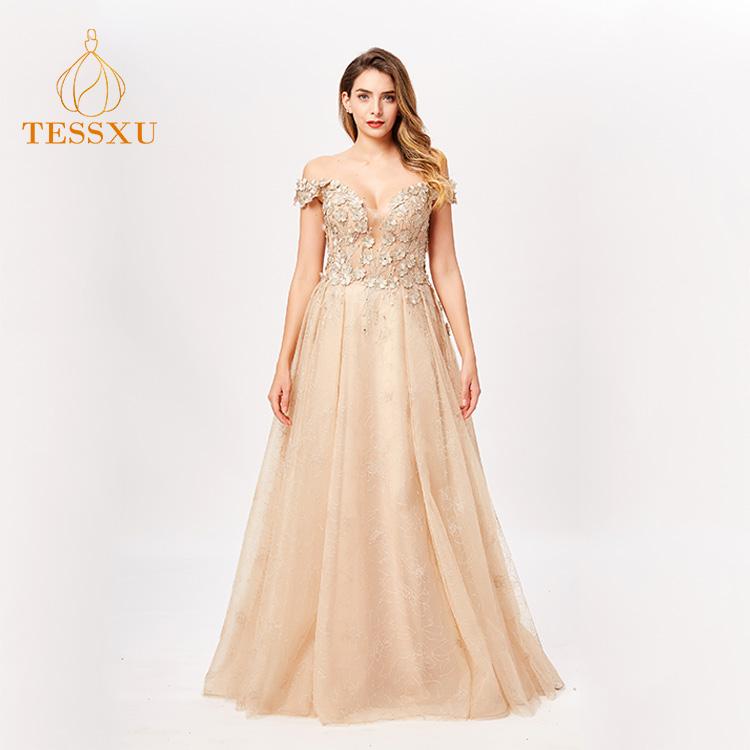 2bdcb7699 Venta al por mayor Aline Latina champán Color el hombro trajes cóctel  vestido de noche vestido