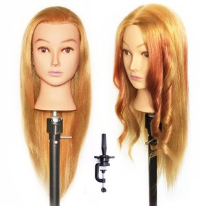 Plastic gold doll cheap human hair styling afro barber training mannequin head for hairdressers
