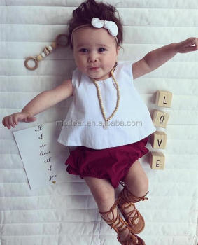 54f792434 Modear Toddler Baby Girls White Tank Vest Top Cross Back+wine Ruffle ...