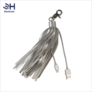 Gift Promotional Portable Leather Tassel Keyring Phone Charger 8Pin USB Cable for iPhone 7 6 5 iPad