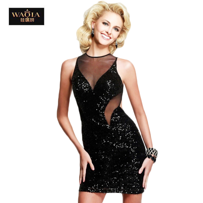 New 2015 Summer Black Gauze Paillette Basic Slim V Neck Sexy Mesh Dress Sequined Bodycon Mini Women Vest Tank Dresses Plus XXL