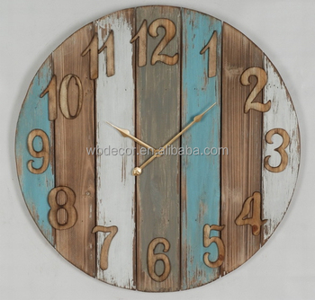 Retro Art Painting Wall Decorative Clock Solid Fire Wood Rustic Country Style