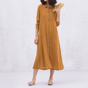 Women Cotton Linen Shirt Dress 2018 Autumn Vintage Long Sleeve Solid Turn Down Collar Button Dresses Casual Loose Long Dress