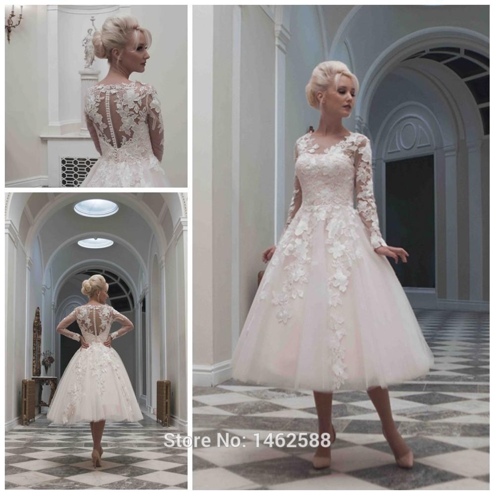 Elegant Long Sleeve Tea Length Wedding Dresses Simple: Vintage 1920's Style Long Sleeves Ball Gowns Wedding Dress