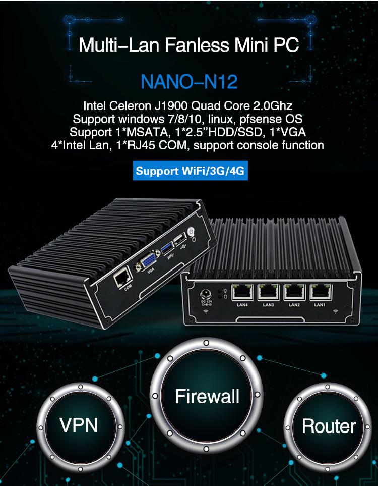 Pfsense Firewall Hardware J1900 Fanless 4 Ethernet Ports Mini Pc With Sim  Card Slot - Buy Firewall Hardware,4 Ethernet Ports Mini Pc,Mini Pc With Sim