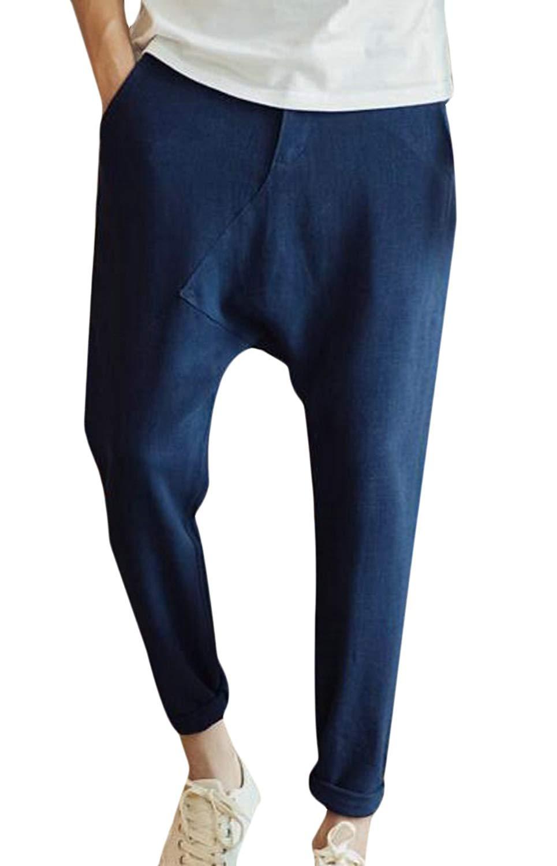 JXG Men Capri Pants Casual Drop Crotch Harem Pants Trousers with Pockets