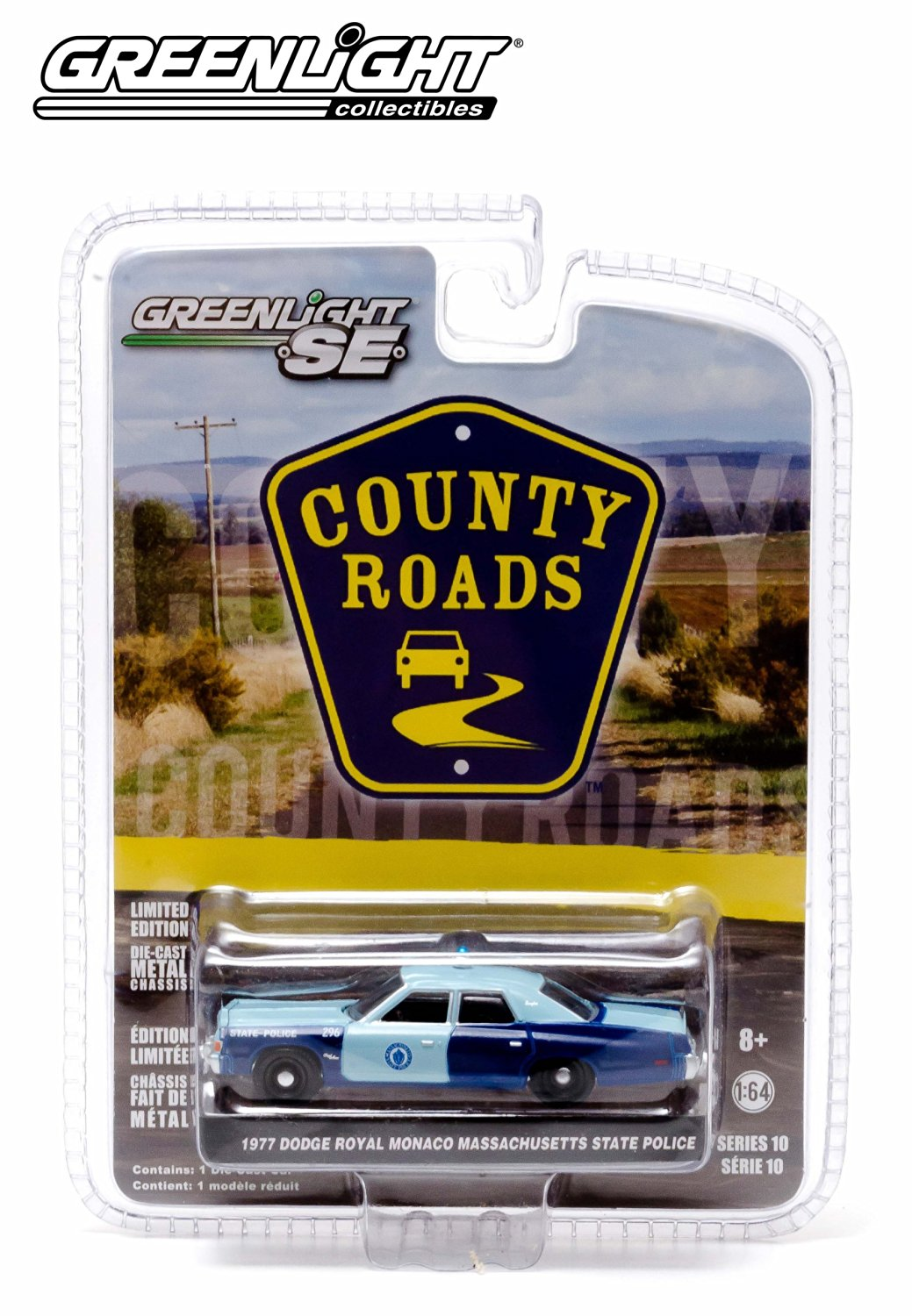1977 Dodge Royal Monaco Massachusetts State Police * County Roads Series 10 * 2014 Greenlight 1:64 Scale Limited Edition Die-Cast Vehicle