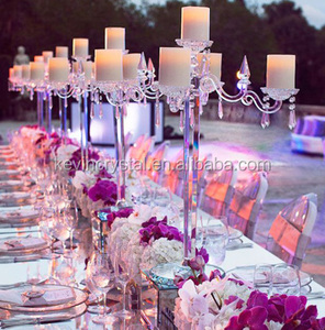 Hot 2017 crystal candelabra wedding centerpieces, crystal clear candelabra, candle holder 5 arms crystal candelabra