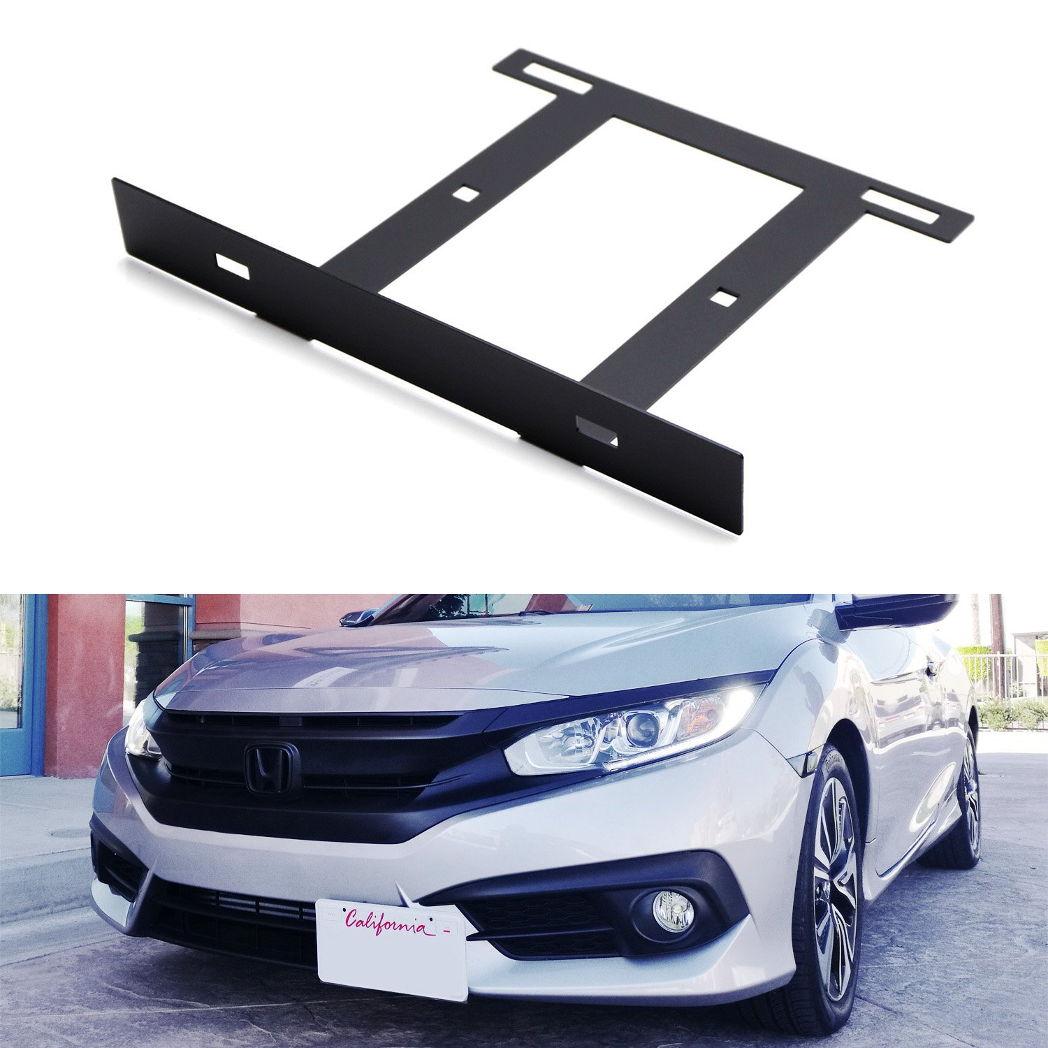 iJDMTOY Type-R Style Front Bumper License Plate Side Relocation Mounting Bracket For 2016-up 10th Gen Honda Civic Sedan/Coupe/Hatchback