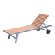 Outdoor aluminum chair poly wood sun lounger with wheels beach chaise lounge