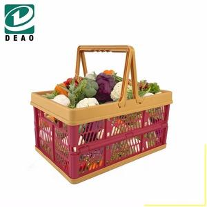 0f652bb4248b Plastic folding basket bag with handles/foldable plastic basket