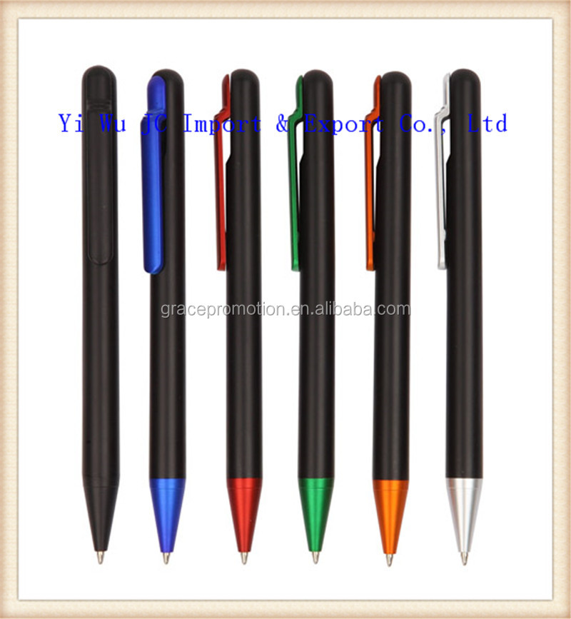 2014 plastic ball pens with printing logo on clip