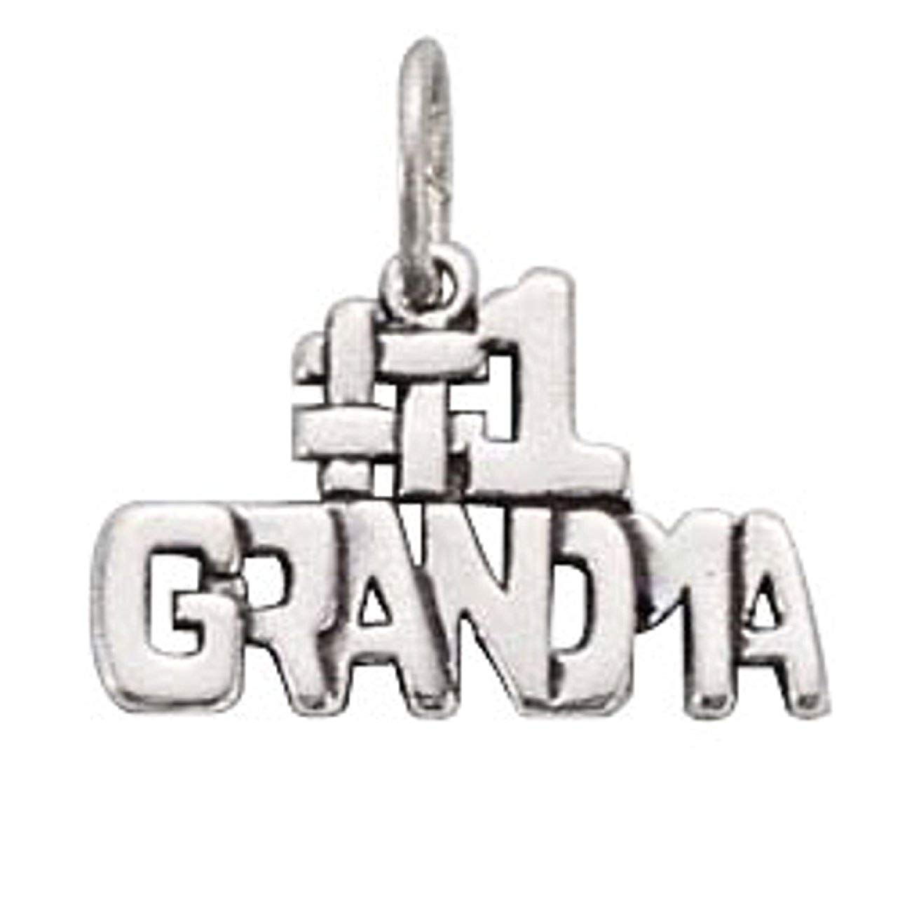 """Sterling Silver 7"""" 4.5mm Charm Bracelet With Attached""""#1 GRANDMA"""" Word Charm"""